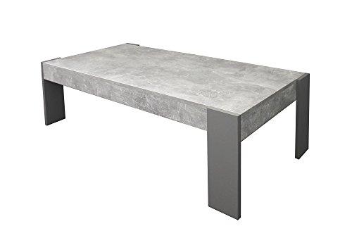 CAVADORE Couchtisch TIMON / moderner, niedriger Beistelltisch in Melamin Light Atelier / Sofa-Tisch in Beton Optik grau / 124 x 60 x 42 cm (L x B x H)
