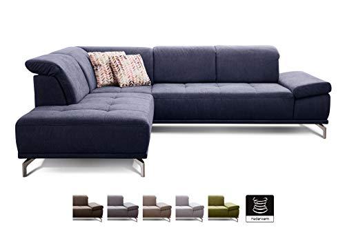 CAVADORE Eckcouch Carly mit Federkern / Sitztiefe und Kopfstütze verstellbar / modernes Design / 273 x 81 x 234 / Webstoff blau