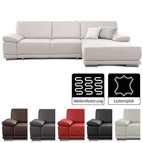CAVADORE Ecksofa Corianne / Couch in Lederoptik und modernem Design / Inkl. beidseitiger Armteilverstellung und Longchair rechts / 282 x 80 x 162  / Kunstleder weiß