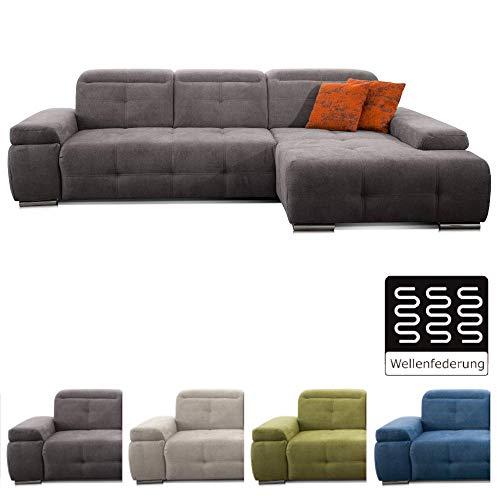 CAVADORE Ecksofa Mistrel mit Longchair XL rechts / Große Eck-Couch im modernen Design / Inkl. verstellbaren Kopfteilen / Wellenunterfederung / 273 x 77 x 173 / Grau