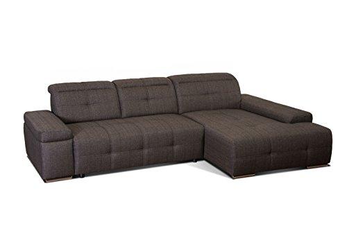 CAVADORE Ecksofa Mistrel mit Longchair XL rechts /XXL-Sofa mit aufwendiger Steppung und modernem Design/ 273 x 77 x 173 / Braun-Schwarz