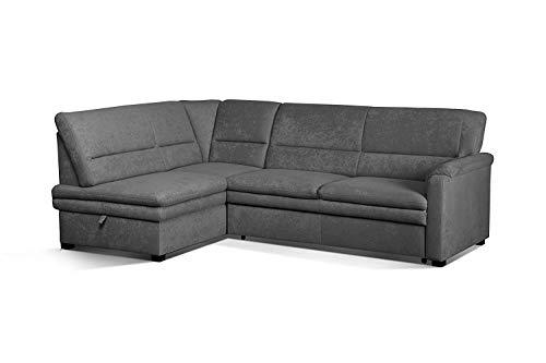 CAVADORE Ecksofa Pisoo / Kleine Eck-Couch mit Federkern / Ottomane links / 245 x 89 x 161 / Mikrofaser Grau