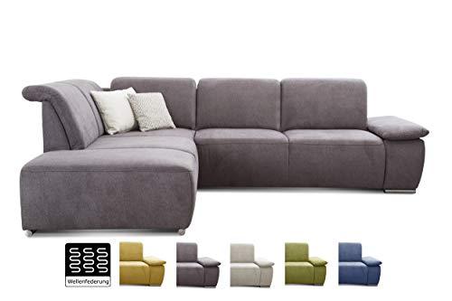 CAVADORE Ecksofa Tabagos / Große Couch mit Ottomane links / Modernes Sofa mit Sitztiefenverstellung / Inkl. Kopf- und Armteilverstellung/ 283 x 85 x 248 / Grau