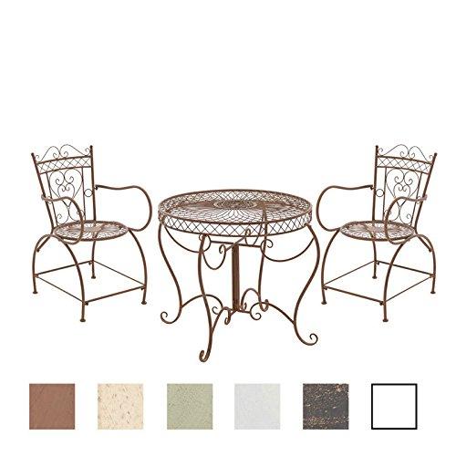 CLP Garten-Sitzgruppe Sheela aus lackiertem Eisen   Garten-Set bestehend aus Einem Eisentisch und Zwei Eisenstühlen   Antike Gartenmöbel im Jugendstil   In verschiedenen Farben erhältlich Antik Braun