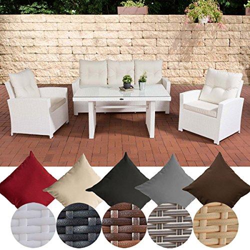 CLP Gartengarnitur FISOLO I Sitzgruppe mit 5 Sitzplätzen I Gartenmöbel-Set aus Polyrattan I Flachrattan | In verschiedenen Farben erhältlich Rattan Farbe weiß, Bezugfarbe: Cremeweiß