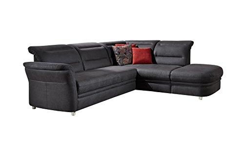 Cavadore Eck-Sofa Bontlei / Federkern-Couch mit Kopfteilverstellung / 261 x 88 x 237 cm (BxHxT) / Mikrofaser dunkelgrau