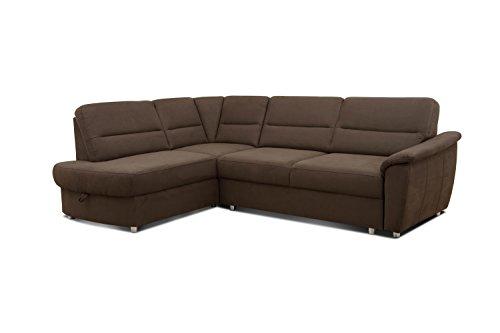 Cavadore Ecksofa Makau / Federkern-Couch mit Ottomane / 252 x 88 x 181 cm (BxHxT) / Mikrofaser in Lederoptik braun
