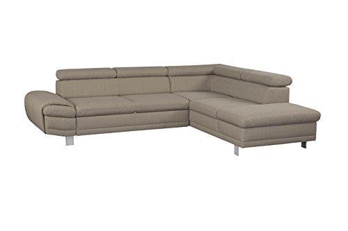 Cavadore Ecksofa Marool / Großes Sofa mit Kopfteilverstellung und Ottomanen rechts / Modernes Design / Maße: 283 x 79 x 229 cm (BxHxT) / Farbe: Braun