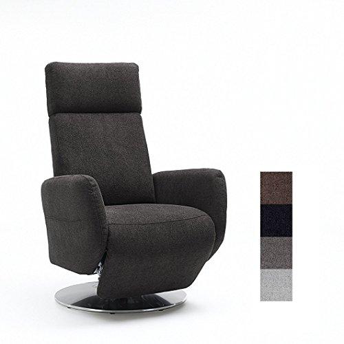 Cavadore TV-Sessel Cobra / Fernsehsessel mit Liegefunktion, Relaxfunktion / Stufenlos verstellbar / Ergonomie L / Belastbar bis 130 kg / 71 x 112 x 82 / Grau