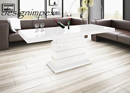 Design Couchtisch Matera Lux H-333 Weiß Hochglanz höhenverstellbar ausziehbar Tisch
