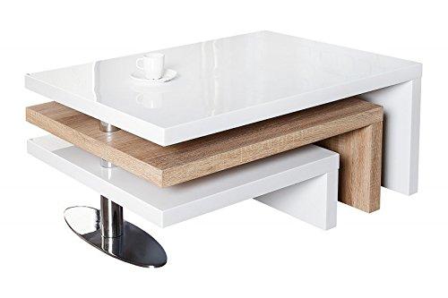 DuNord Design Couchtisch Sofatisch HIGHLEVEL weiß hochglanz modern Sonoma Eiche Design Lounge Tisch