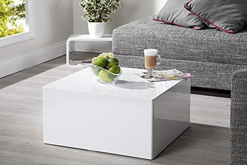 DuNord Design Couchtisch Sofatisch MONOLIT 50cm weiss Hochglanz Retro modern Design Lounge Möbel