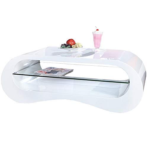 DuNord Design Couchtisch weiß modern Hochglanz stylisch Sofatisch 110cm Design Tisch BROOKLYN Lounge Möbel