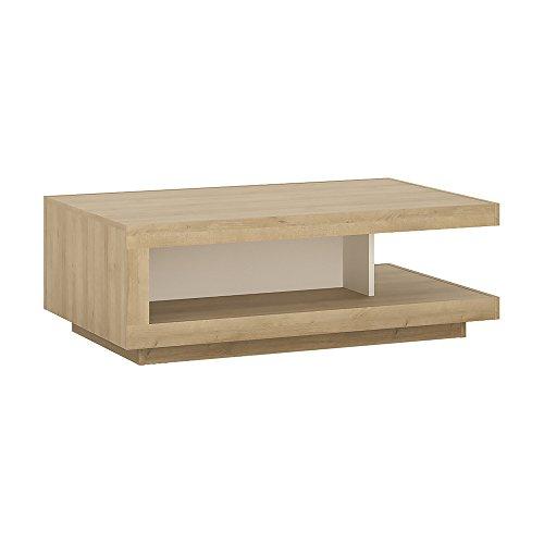 Möbel to go Design Couchtisch. Riviera Eiche/weiß Hochglanz, Holz