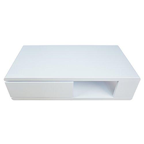 Riess Ambiente Moderner Design Couchtisch Fortuna Hochglanz weiß mit funktioneller Schublade